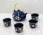 Japanese Sakura Cherry Blossom Flowers Navy Blue Ceramic Tea Pot With 4 Cups Set