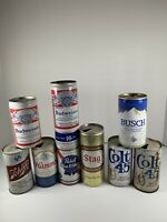 Lot Of 9 Vintage Pull Tab Beer Cans 2 16oz 7 12oz Budweiser Busch SCHLITZ More
