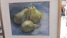 watercolor pear motifs, Argentine painter Osvaldo Venturi