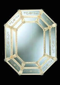 Espejo Vidrio Murano clasico con el oro puro 24 fatto hecho a mano en Italia