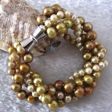 "8"" 4-9mm Champagne 4row Freshwater Pearl Bracelet Strand Jewelry"