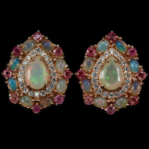 NATURAL AAA RAINBOW OPAL, RUBY & WHITE CZ STERLING 925 SILVER EARRING