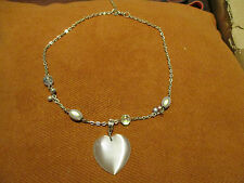 Handmade white heart pendant necklace with pale beads/crystals