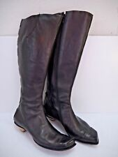 CYDWOQ VINTAGE $548 Game dark bronze black leather cutout back knee high boot 36