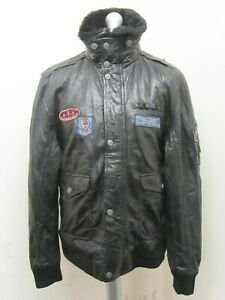 VINTAGE 80's GIPSY DISTRESSED LEATHER MOTORCYCLE FLIGHT JACKET SIZE 2XL BADGES
