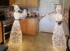 Two Lighted Angels with Trumpets Yard Decorations