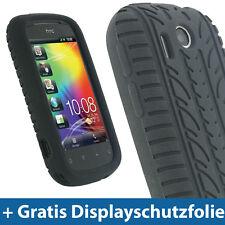 Schwarz Silikon Tasche für HTC Explorer A310e AndroidSkin Hülle Reifenprofil