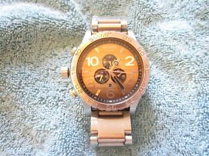 NIXON 51-30 MENS CHRONO: WOOD FACE & STAINLESS STEEL SILVER BAND