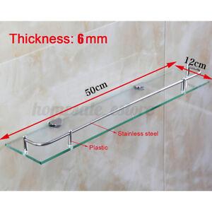 Single Square Glass Shelf Vanity Stainless Bathroom Kitchen Shower Storage Hold