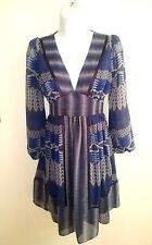 BCBGENERATION MULTI-COLORED GREYS AND BLUES FULLED LINED DRESS SZ 0 EUC