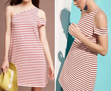 ANTHROPOLOGIE MAEVE RED BEIGE STRIPED ONE SHOULDER MARKETA DRESS Sz XXSP