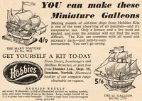 Vintage Hobbies Mary Fortune and 1/2d Galleon Kit Advert - Original 1953