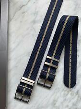 Premium (Tudor Style) Nylon - Single Pass Nato Watch Strap - Deep Navy x Sand