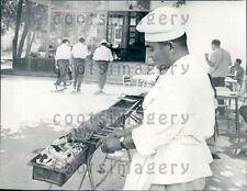 1966 Outdoor Kitchen Chef Prepares Shashlyk Tashkent Russia Press Photo