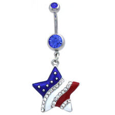 July Royal Blue Dangle Belly Ring Usa American Flag Stars Patriotic 4th of