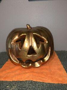 Vintage Halloween Gold Pumpkin Blow Mold Light Up Color Changing Jack O Lantern