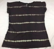a.n.a. Womans Brown Stiped V-neck Short Sleeve Shirt Preowned