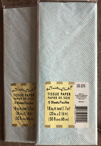 2 Packs White With Light Blue Grid Pattern Tissue Paper -5 Sheets Each -36 sq ft