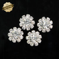 10 Pcs Silver Tone DIY Crystal Rhinestone Flower Embellishment  Flatback Craft