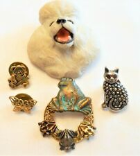 Lot ~ 5 ~ Vtg Animal Pins Brooches Poodle-Frogs-Butterfly-Ca t-Bear