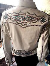 CRIPPLE CREEK Off White Leather Rhinestones Embellished Blingy Jacket S Small