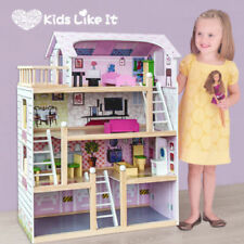 Brand New GIRLS Pink Wooden 3 Levels Dolls Dollhouse 13 Pieces Full FURNITURE