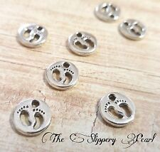6 Baby Feet Charms Antique Silver Tone Baby Shower Favors Pendants