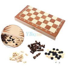 Large Foldable Easy Storage Wood Chess Pieces Chessboard Set With Box Holder EB