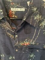 Batik Bay Tropical Shirt Men's Button Down Reverse Print Cotton Hawaiian Aloha M