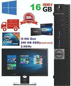 """Dell Optiplex 7040 USFF Intel Core i5 6thGen 16GB Ram 240GB SSD 22"""" LCD WiFi"""