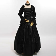 Women Victorian Gothic Black Full Dress Reenactment Gothic Ball Gown Square Neck