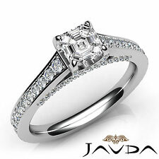 Asscher Diamond Pave Set Engagement Ring GIA E Clarity VS1 18k White Gold 1.47Ct