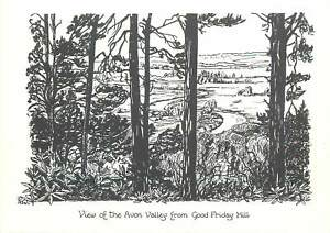 Postcard England View of the Avon Valley from Good Friday Hill Draw