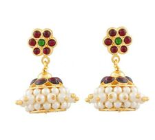 NEW GOLD PLATED BHARATNATYAM DANCE KEMPU TEMPLE STONE PEARL JHUMKI EARRINGS E310