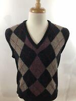 Lord Jeff Men's 100% Lambs Wool V-Neck Sweater Vest Argyle Size Medium M S1