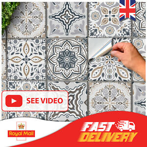 24x Grey Kitchen Tile Stickers 6x6 4x4 Bathroom Victorian Wall Tile transfers 3D