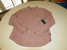 Mens Modern Amusement button up shirt CROW RARE long sleeve L lg Red weathered