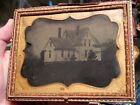 Half plate ambrotype of house full case taken by D.M. King of Massachusetts