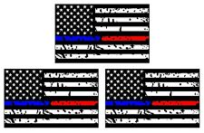 3xPCS Police and Fire Dept. Blue/Red Line American Flag Sticker Car Sticker