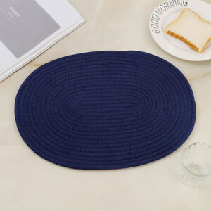 18CM Woven Oval Placemat Cotton Cord Dining Thermal Tnsulation Mat Pad Kitchen