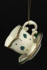 KURT S. ADLER PORCELAIN IRISH MINI SIX-SIDED TEA CUP & SAUCER CHRISTMAS ORNAMENT