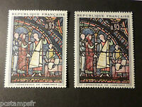 FRANCE  1963, VARIETE de COULEUR, timbre 1399, TABLEAU VITRAIL CHARTRES, neufs**