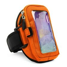 Orange VanGoddy Zippered Armband Pouch For Samsung Galaxy Note S7 / HTC One X10