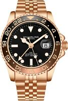 Stuhrling Aqua-Diver 3968 Swiss Quartz Men's Rose  Bracelet Black Dial Watch