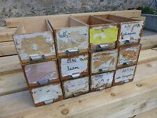 n°5 / lot de 12 ancien tiroir meuble métier en bois poignée métal fer blanc