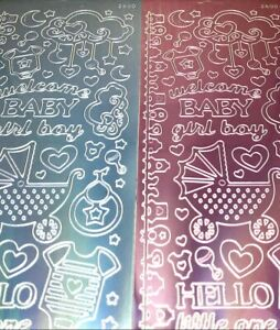 Welcome Baby Boy Girl Peel Off Sticker Sheet Shiny Pink Blue Card Making Craft