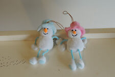Pair of Small - Christmas Tree Ornaments - 1- Snowboy, snowgirl , cloth ,5 inch