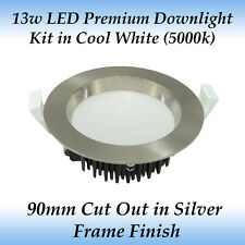 13w Brushed Chrome Premium Dimmable LED Downlight Kit in Cool White Light