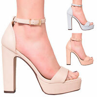 LADIES WOMENS ANKLE STRAP PEEP-TOE PLATFORM SUMMER HIGH HEEL SHOES SIZE 3-8