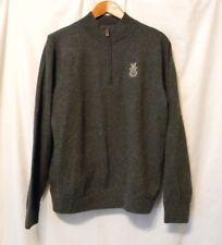 Peter Millar Men's Wool & Cashmere Gray Quarter-Zip Pullover Sweater Sz M